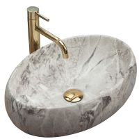 Rea Linda umywalka 48x34 cm nablatowa prostokątna imitacja kamienia REA-U1020
