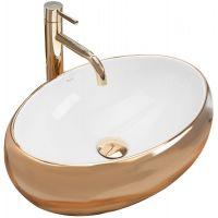 Rea Linda umywalka 48x34 cm nablatowa prostokątna biała/złota REA-U1021