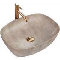 Rea Freja Beige umywalka 51x40 cm nablatowa imitacja kamienia REA-U6647