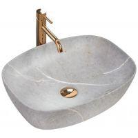 Rea Freja Grey umywalka 50x38 cm nablatowa owalna imitacja kamienia REA-U6648
