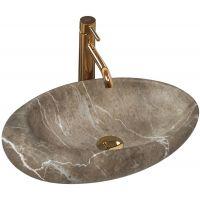 Rea Roxy B Stone umywalka 49x31 cm nablatowa owalna imitacja kamienia/beż REA-U6650