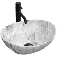 Rea Stone umywalka 41x34 cm nablatowa owalna biel/szary REA-U9908