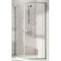 Hüppe Alpha 2 1/4 koła kabina prysznicowa 80x80 cm półokrągła srebrny połysk/szkło przezroczyste Anti-Plaque A20623.069.322