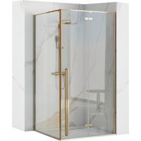 Rea Fargo Gold kabina prysznicowa 90 cm kwadratowa szkło przezroczyste REA-K4903
