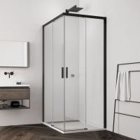 SanSwiss Top Line S kabina prysznicowa 90x90 cm czarny mat/szkło przezroczyste TLSAC0900607