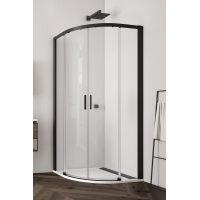 SanSwiss Top-Line S kabina prysznicowa 90 cm półokrągła czarny mat/szkło przezroczyste TLSR550900607
