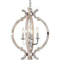 CosmoLight Portland lampa wisząca 4x40W nikiel/drewno P04261NIWD