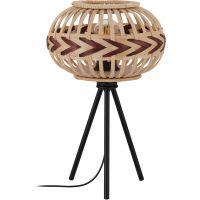 Eglo Dondarrion lampa stołowa 1x40W czarny/naturalne drewno/burgundzki czerwony 43274
