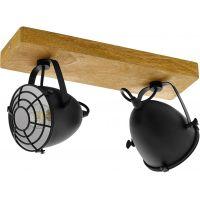 Eglo Gatebeck lampa podsufitowa 2x40W naturalne drewno/czarny 49077