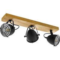 Eglo Gatebeck lampa podsufitowa 3x40W naturalne drewno/czarny 49078