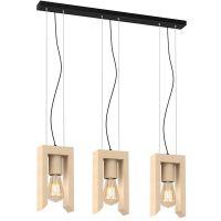 Milagro Vincenzo lampa wisząca 3x60W drewniano/czarna MLP5419