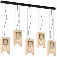 Milagro Vincenzo lampa wisząca 5x60W drewniano/czarna MLP5420
