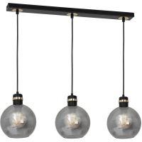 Milagro Omega lampa wisząca 3x60W czarno/złota/szkło dymione MLP6531
