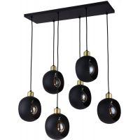TK Lighting Cyklop Black lampa wisząca 6x60W czarna/złota 2756