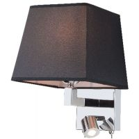 Zambelis Lighting kinkiet 1x40W/1x3W czarny/chrom H26-B