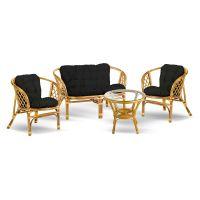 Eurohit Bahama zestaw mebli ogrodowych 4-osobowy stolik z kanapą i dwa fotele rattan-czarny