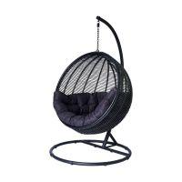 Miloo Home Cocoon De Lux fotel wiszący ekorattan czarny/poduszka czarna ML7483