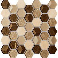 Tubądzin Mozaiki 2016 mozaika ścienna Drops Stone Brown Hex 29,8x30cm MS-01-172-0275-0275-1-004