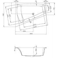 Hoesch Largo wanna narożna 180x140 cm do zabudowy trapezowa lewa biała 3705.010