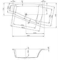 Hoesch Largo wanna narożna 180x140 cm do zabudowy trapezowa prawa biała 3706.010