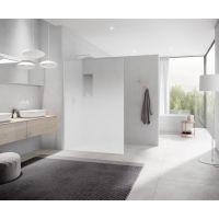 Kermi White Line Walk-In XC ścianka prysznicowa 120 cm profile biały Soft/ szkło Stripe 3 XCWIO1202044K