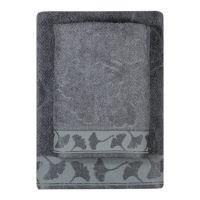 Texpol Gingko ręcznik łazienkowy 50x100 cm wiskoza bambusowa szary