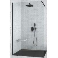 Besco Aveo Black Walk-In ścianka prysznicowa 130 cm szkło przezroczyste AVB-130-195C