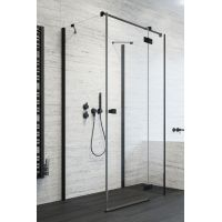 Radaway Essenza New Black KDJ ścianka prysznicowa 80 cm boczna szkło przezroczyste 384051-54-01