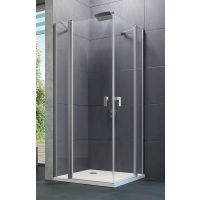 Hüppe Design pure 4-kąt drzwi prysznicowe 90 cm chrom eloxal/szkło przezroczyste Anti-Plaque 8P0705.092.322