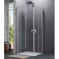 Hüppe Design Pure 4-kąt drzwi prysznicowe 90 cm lewe chrom eloxal/szkło przezroczyste Anti-Plaque 8P0816.092.322