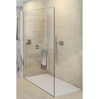 Hüppe Select+ Walk-In ścianka prysznicowa 110 cm wolnostojąca black edition/szkło przezroczyste Anti-Plaque SL0108.123.322
