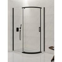New Trendy New Komfort Black kabina prysznicowa 100x80 cm półokrągła asymetryczna szkło przezroczyste K-0470