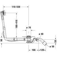 Duravit zestaw przelewowo-odpływowy Quadroval chrom 792216000001000