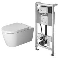 Zestaw Duravit ME by Starck miska WC wisząca Rimless z deską wolnoopadającą biała i stelaż podtynkowy DuraSystem (2529090000, 0020090000, WD1001000000)