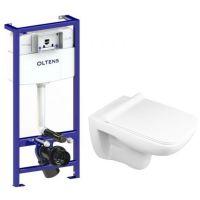Zestaw Oltens Ribe miska WC z deską Slim i stelaż podtynkowy Oltens Triberg (50001000, 42011000)
