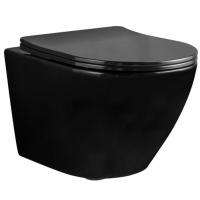 Rea Carlo Mini Rimless miska WC wisząca z deską wolnoopadającą Duroplast/Flat/ZM czarny REA-C8936