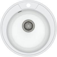 Quadron Danny 210 zlewozmywak 48,5 cm z GraniteQ wpuszczany biały metalik/stal szlachetna HB8301U1-BS