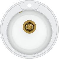 Quadron Danny 210 zlewozmywak 48,5 cm z GraniteQ wpuszczany biały metalik/złoty HB8301U1-G1