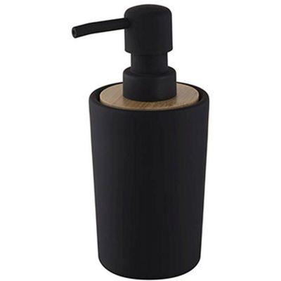 Bisk Umbra dozownik do mydła stojący drewno/czarny mat 07912