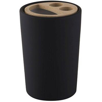Bisk Umbra kubek na szczoteczki stojący drewno/czarny mat 07983