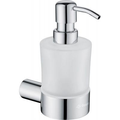 Deante Round dozownik do mydła ścienny szkło mleczne/chrom błyszczący ADR0421