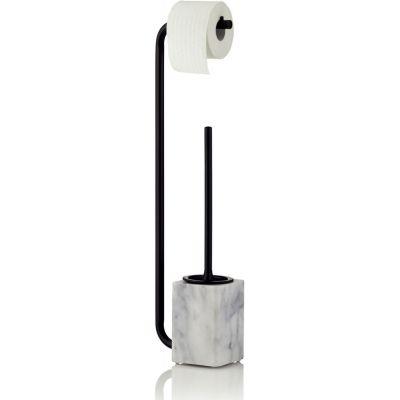 Kela Varda stojak na papier toaletowy ze szczotką WC czarny/marmur KE-20031