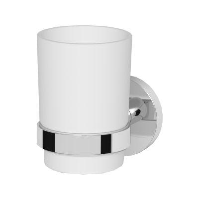 Oltens Gulfoss szklanka z uchwytem biała ceramika/chrom 86101000