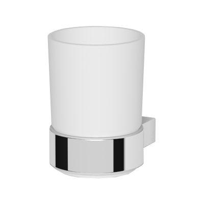Oltens Vernal szklanka z uchwytem biała ceramika/chrom 86102000