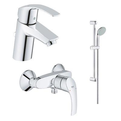 Zestaw baterii umywalkowa i prysznicowa ścienna z kompletem prysznicowym Grohe Eurosmart New (33265002, 33555002, 2759800E)