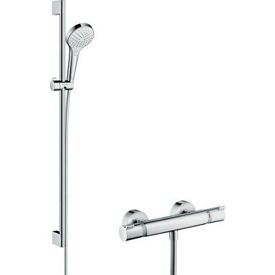 Hansgrohe Croma Select S zestaw prysznicowy ścienny termostatyczny biały/chrom 27014400