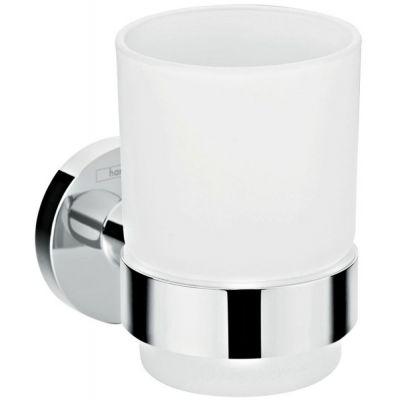 Hansgrohe Logis Universal kubek do mycia zębów chrom/szkło białe 41718000