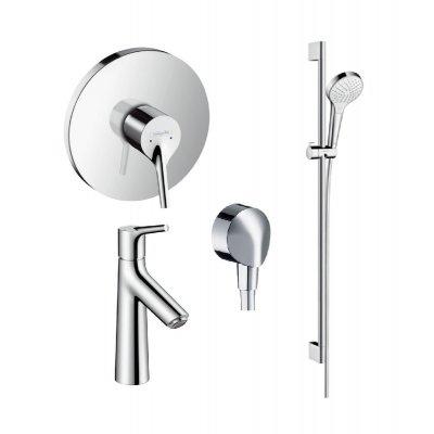 Zestaw Hansgrohe Talis S bateria prysznicowa i umywalkowa z zestawem prysznicowym Croma (72605000, 72021000, 26562400, 27454000)