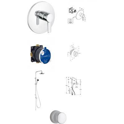 Zestaw prysznicowy z baterią podtynkową Kludi Zenta (386550575, 88011, 6609005-00, 6306005-00)