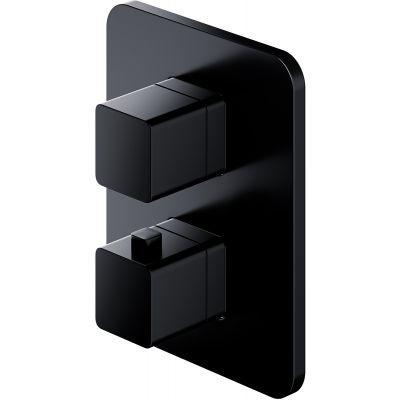Omnires Parma bateria wannowo-prysznicowa podtynkowa termostatyczna czarny mat PM7436BL